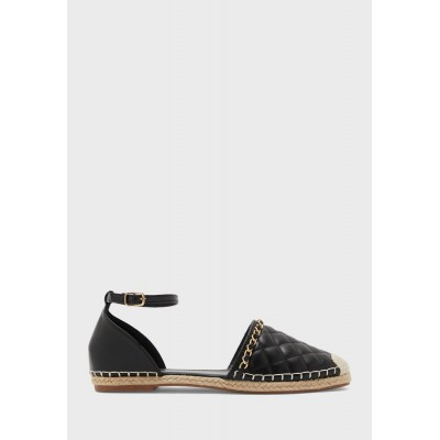 Ginger Womens black Quilted Ankle Strap Espadrille With Chain Detail U2LIW721