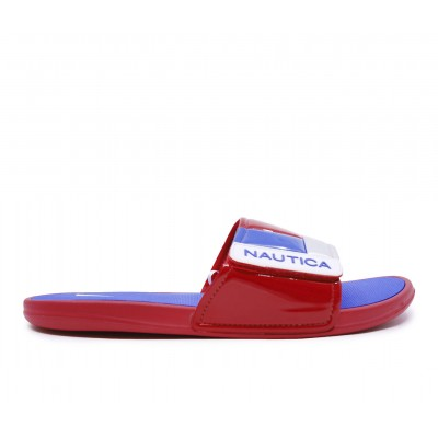 Men's Nautica Bower Sport Slides Red/Blue/Silver Going Out I7LDM408